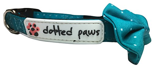 Dotted Paws Dog Collar BOW Tie Padded CUTE Polka Dots Print Comfortable NEOPRENE Padded for Ruffed Adventures PAWFECT for Your Best Friend! (Small, Turquoise) ()