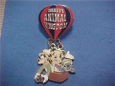 Disney/WDW Animal Kingdom Hot Air Balloon Mickey Mouse, Stitch and Goofy Pin