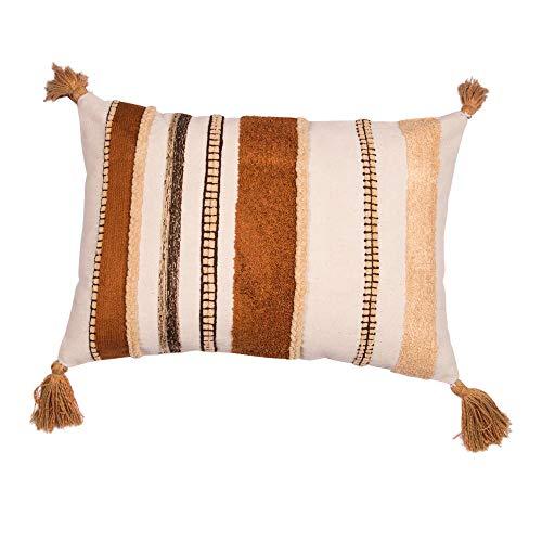 Eight Owls Boho Pillow Cover -Tassel Tufted Throw Pillow Cover -100% Cotton - Decorative Lumbar 14