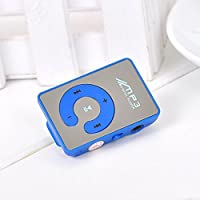 ONEVER Mp3 Music Player Mini Mirror Clip Player USB Digital Support 8GB SD TF Card Blue