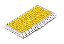 Yellow Bling Rhinestones Stainless Steel Business Card Case