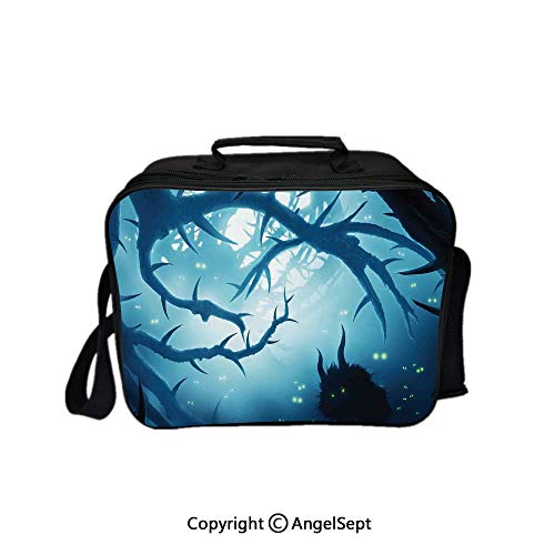 Hot Sale Lunch Container,Animal with Burning Eyes in Dark Forest at Night Horror Halloween Illustration Navy White 8.3inch,Lunch Bag Large Cooler Tote Bag For Men, Women -
