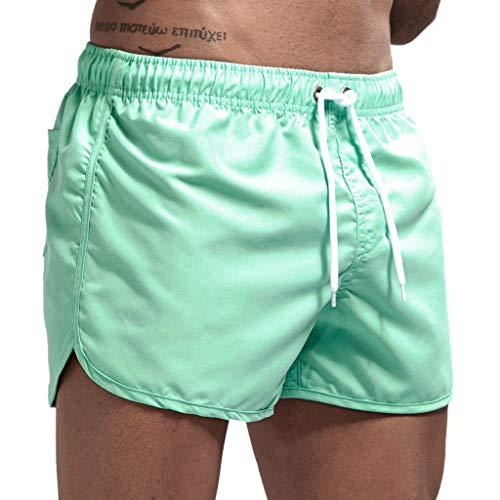 Canserin Men Athletic Hip hop Shorts Men Drawstring Sports Pants Summer Print Trunks (Mint Green,XL)