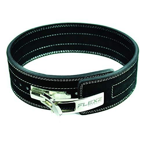FlexzFitness Lever Buckle Powerlifting Belt 10mm Weight Lifting Black Large