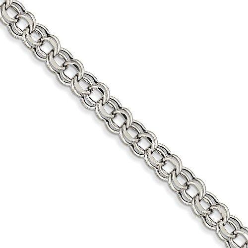 Or blanc 14carats Lite 5,5mm double charme Bracelet-Homard Griffe-20cm