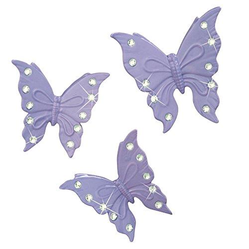 Embellished Butterfly Wall Art - Set Of 3, Lavender