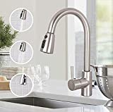 Sink Faucet, TECCPO Single Handle High Arc Brushed Nickel Stainless Steel Kitchen Sink Faucet with 3 Spray Modes Pull Down Sprayer, Kitchen Faucet with Deck Plate