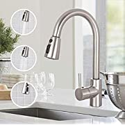 #LightningDeal Sink Faucet, TECCPO Single Handle High Arc Brushed Nickel Stainless Steel Kitchen Sink Faucet with 3 Spray Modes Pull Down Sprayer, Kitchen Faucet with Deck Plate