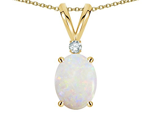 Star K 14k Yellow Gold Oval 7x5mm Genuine Opal Pendant Necklace (Genuine Oval Opal Pendant)