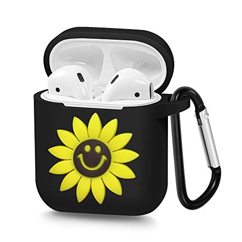Airpods Case, Airpod Silicone Skin Cases, Full Protective Durable Shockproof Drop Proof with Keychain Airpods Accesssories-Smiley Sunflower