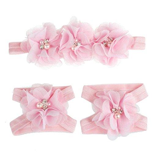 Koly Vistoso Flor pies Sandalias + Venda Conjunto para bebés (Púrpura) rosa