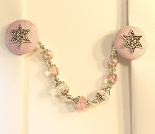 (Silk and Satin Star Of David Tallit Clips in Pink and)