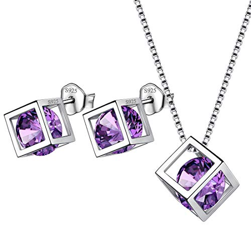 Sterling Silver Boy Girl - Aurora Tears February Birthstone Jewelry Sets Women 925 Sterling Silver Crystal Birth Stone Necklace Earrings Sets Girls Birthday Gift DS0028F