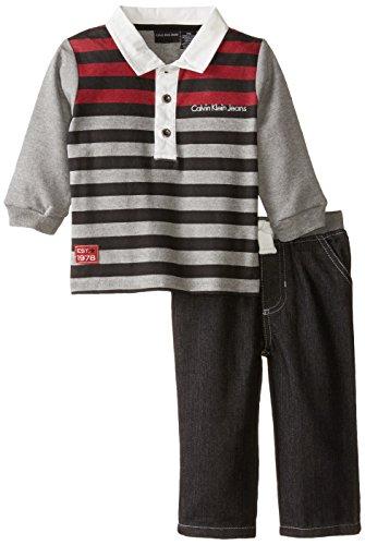 Calvin Klein Baby Boys' Stripes Polo Top with Pants, Multi, 18 - Polo Calvin Striped Shirt Klein