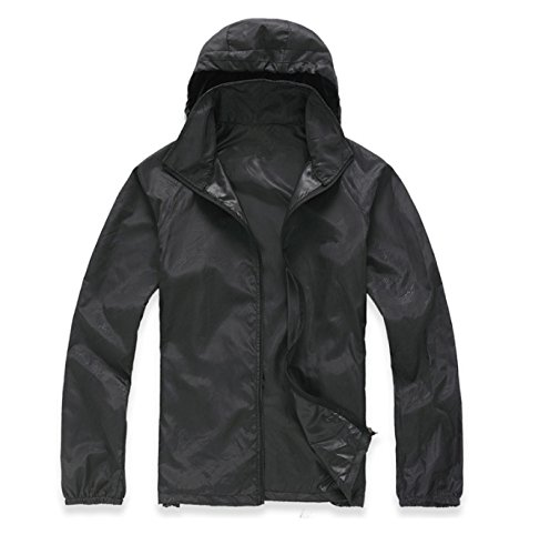 Wealers Compact Lightweight Thin Jacket Uv Protect+quick Dry Waterproof Coat, Rain Jacket for Men, with Small Carry Bag