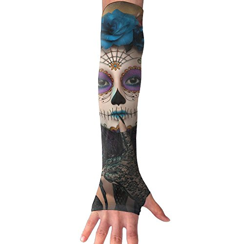 Cut Seamless Glove Resistant (Tribal Aztec Witch Mask Ultra Long Non Finger UV Resistant Gloves Gloves Sleeve, For Women And Men To Provide Sunscreen Protection 1 Pairs, For Outdoor Sports, Driving, Bicycles)