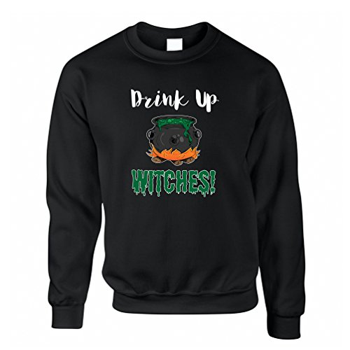 Tim And Ted Halloween Sweatshirt Drink Up, Witches Cauldron Black XS -