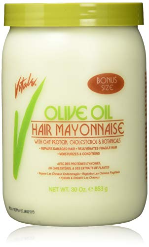 Vitale Olive Oil Hair Mayonnaise 30oz with Oat & Egg Protein and Vitamins - Good on Color & Thermal Treated Hair - for Dry & Damaged Scalp Men, Women & Kids -Moisturize and Condition (Organics Olive Oil Deep Conditioner Natural Hair)
