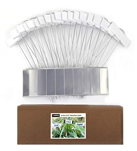 Amatory Metal Plant Labels Garden Markers Gardening Planting Seedling Signs Nursery Tags Reusable for Vegetable Herb Flower 18 Pcs, with 36 Pcs Self-Adhesive Polyester Labels (White-10.7
