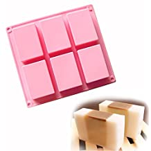 Allforhome(TM) 6 cavity 3D Plain Rectangle Silicone Soap DIY Molds Homemade Craft Candy Cake Moulds Handmade Soap Mold Soap Bar Mould Savon moule Moule a gateau