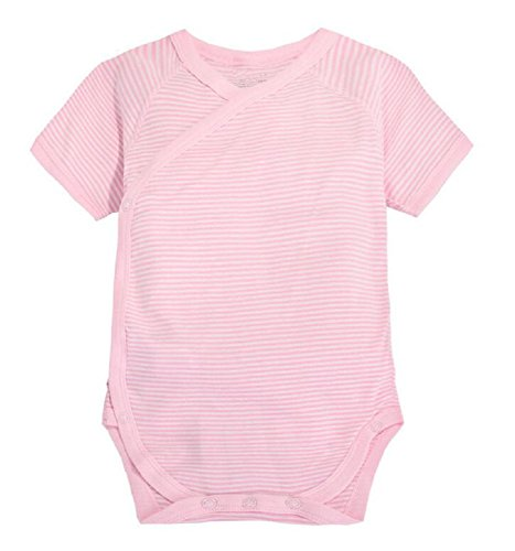 Mobycare Newborn Bodysuit Kimono Short Sleeve Onesie with Side Snap 100% Cotton (Pink Stripes, 0-3 - Sleeve Tee Kimono Short