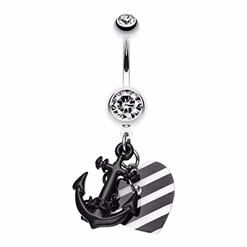 Vibrant Anchor Nautical Heart WildKlass Belly Button Ring