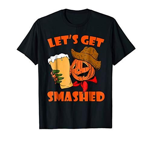 Let's Get Smashed Shirt - Halloween Pumpkin Shirt Beer Men]()