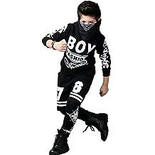 Ababalaya boys' 2pcs Hip Hop Tracksuit with Hoodie and Pants