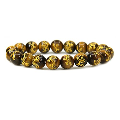 Amandastone Natural Gold Dragon Golden Tiger Eye Genuine Semi Precious Gemstones Healing 10mm Beaded Stretch Bracelet 7