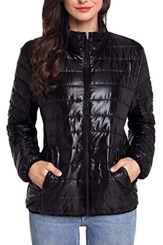 de Puffer Acolchado de Abajo Mujer del Abrigo Invierno Negro Chaqueta Collar Plumón Soporte Faston Cremallera Ligero Jacket FBPfXpzz8