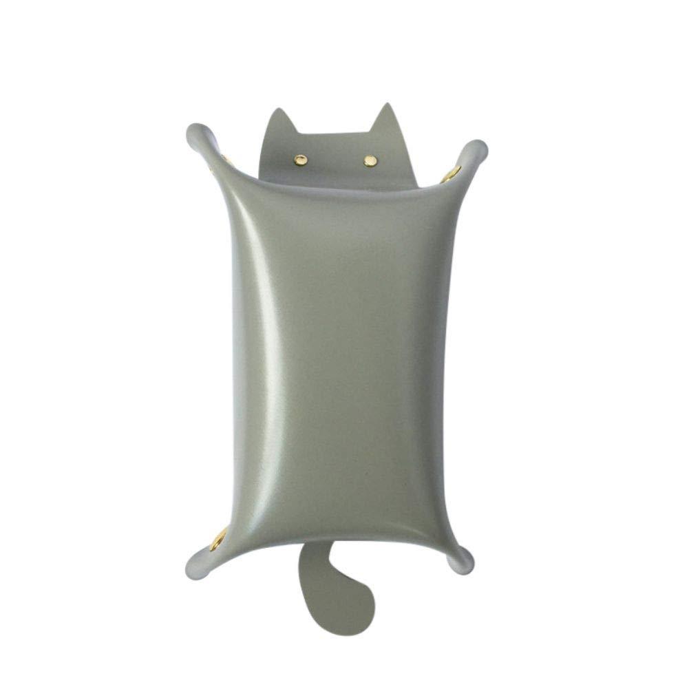Anpay Dice Cat Shape Leather StorageTray Key Coin Makeup Tray Folding Tray with Velvet Cat Storage Box