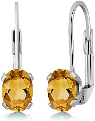 1.20 Ct Oval Yellow Citrine Silver Plated 4-prong Leverback Earrings 7x5mm