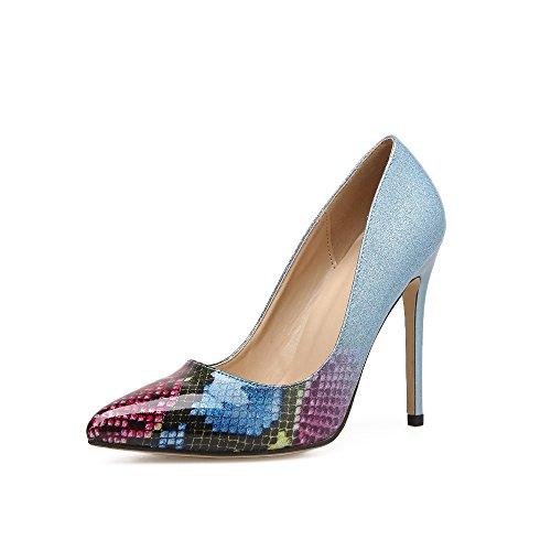 HGTYU-Zapatos de mujer/Confort/Chaussures pour femmes/10-12Cm High Heels Sexy Sugerencia El Degradado De Color Luz Delgada Con Azul 40 Thirty-five