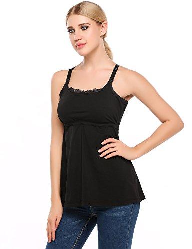 ARSHINER Lactancia Ropa Mujeres Premamá Camiseta Maternidad de Verano Negro
