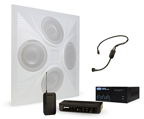 Wireless Conference Room Sound System 1 Ceiling Speaker, Mixer Amplifier, Shure Headset Mic Wireless System by Pure Resonance Audio