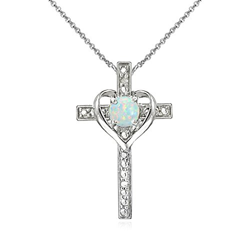 Sterling Silver Simulated White Opal Cross Heart Pendant Necklace for Girls, Teens or Women (Birthstone Jewelry Opal)