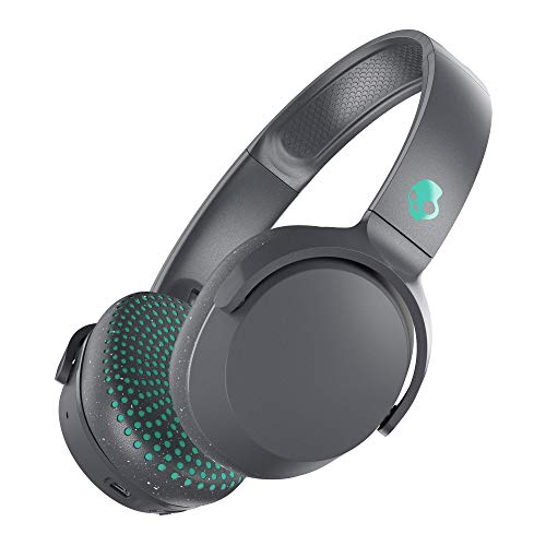 (Skullcandy Riff Wireless On-Ear Headphones with Microphone, Bluetooth Wireless, Rapid Charge 12-Hour Battery Life, Foldable, Plush Ear Cushions with Durable Headband, Gray/Speckle/Miami (Renewed))