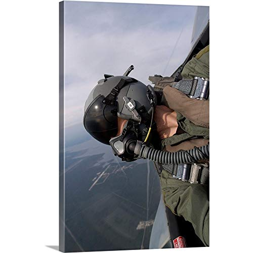 GREATBIGCANVAS Gallery-Wrapped Canvas Entitled Cockpit View of a Pilot Flying an F15 Eagle by Stocktrek Images 16