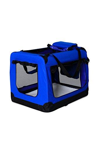 dibea TB10032 Hundetransportbox Hundetasche Faltbare Autobox Kleintiertasche (Größe und Farbe wählbar), blau