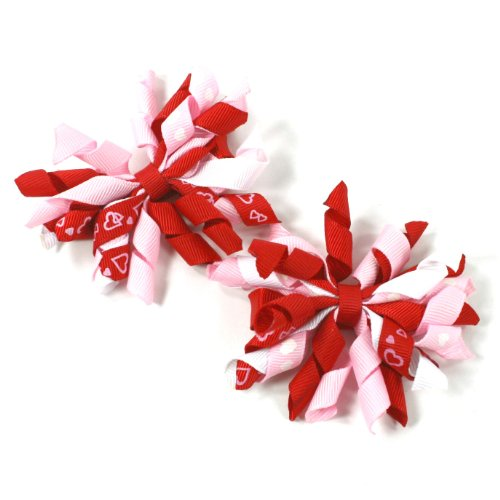 Girls Curly Mini Korker Hair Bow Clips Set of 2 (Valentine Red/white/pink) - Girls Curly Hairbows