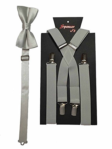 (Spencer J's Men's X Back Suspenders & Bowtie Set Verity of Colors (Silver) )