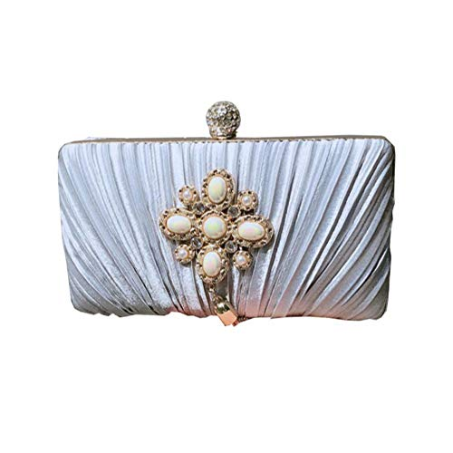 Materiale Strass Dating Dinner Onesize Dinner Party Silver Clutch Bag Fringe Ladies Perla Fashion xq8XR0nwvw