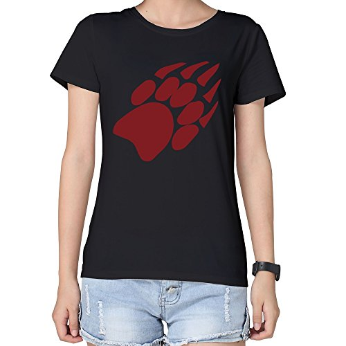 (100% Cotton Womens Wisconsin Badgers Paw Tshirts Black)