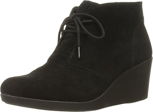 crocs Women's Leigh Suede Wedge Shootie Boot, Black, 8 M US