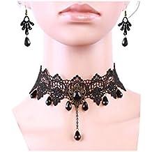 Charm.L Grace Black Lace Gothic Lolita Pendant Choker Necklace Earrings Set