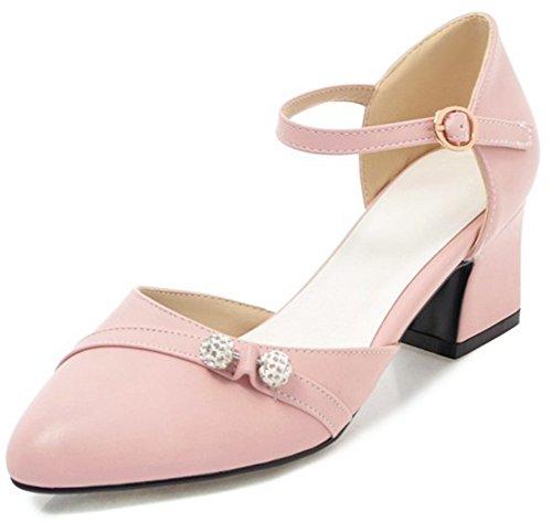 Idifu Kvinna Mode Diamant Ankelbandet Spetsig Tå Mitten Chunky Häl Pumpar Rosa