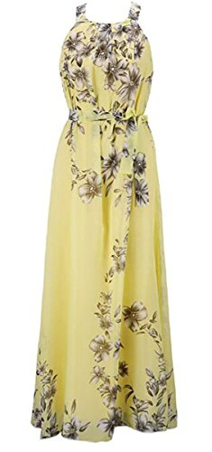 Print Chiffon Floral Evening Multicolor Party Yellow Women Dress BLTR Beach Halter q0wZxTWta