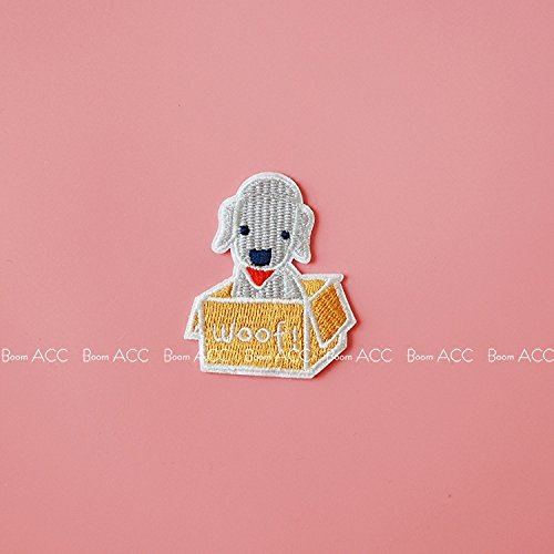 (South Korea imported puppy in a box Bedlington Terrier cute delicate embroidery PDA PDA stickers affixed badge brooch)