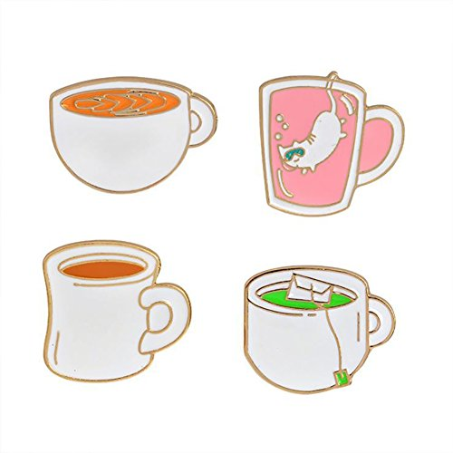litymitzromq Cute Enamel Lapel Pin, 4Pcs Tea Cup Coffee Enamel Brooch Pin Cartoon Badge Jeans Collar Jewelry Set for Clothing Bags Backpacks Jackets Hat DIY