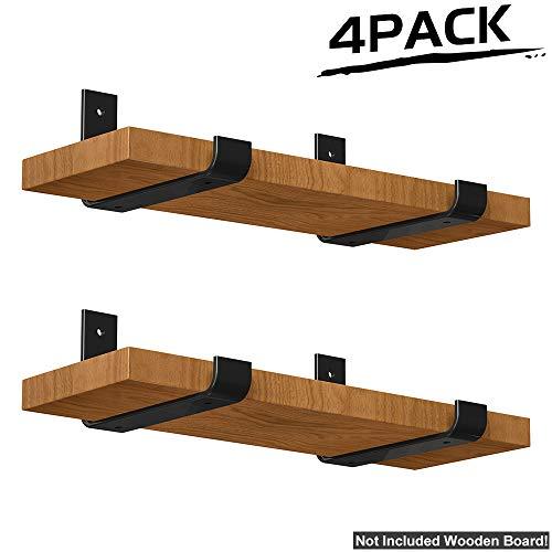 (LuckIn Lip Shelf Wall Brackets 7.25 in x 4 in, Heavy Duty Metal Steel Decorative Bracket, Shelves Storage Angle Corner Brackets for Study Bedroom Kitchen, 4 Pack)
